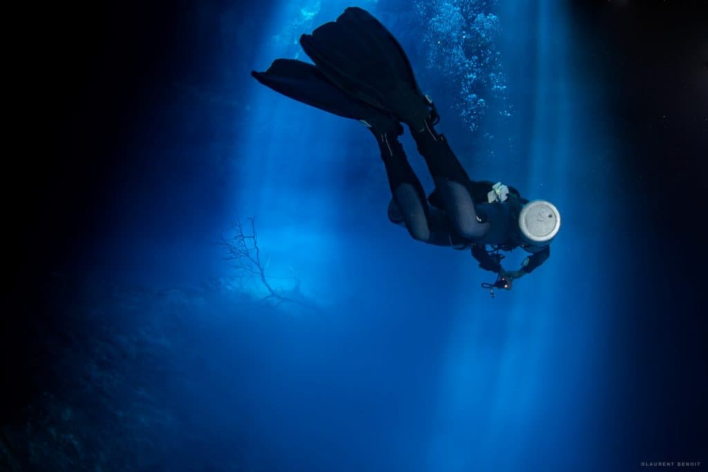 Back from a side mount cave dive at cenote the Pit - Dos Ojos Mexico