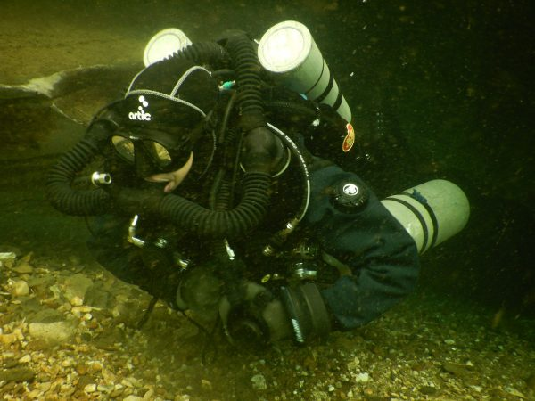 Geraldine diving the Megalodon in the caves in th Lot, France
